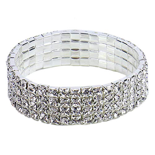 Monrocco 4 Rows Silvery Plated Crystal Rhinestone Adjustable Stretch Bracelet Jewelry for Wedding for Women