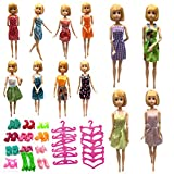 36pcs Accessories for Barbie Dolls-12pcs Dresses,12 Pairs of Shoes and 12pcs Hangers for Barbie Girls Birthday(Random Style)