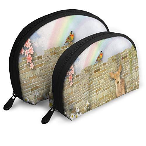 Makeup Bag Deer Brick Sweet Bird Fleurs Rainbow Portable Shell Makeup Case For Girlfriend Party 2 Piece