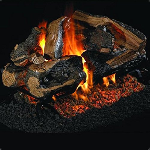 Peterson Real Fyre 24-inch Charred Rugged Split Oak See-thru Log Set With Vented Natural Gas G45 Burner - Match Light (See Thru Vented Natural)