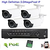 Amview 4Ch H.265 NVR 1920P 5MP ONVIF PoE IP OSD Menu CCTV Surveillance Security Camera