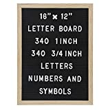 Felt Letter Board with 680 Letters, Numbers & Symbols 16 x 12 inch :: Changeable Letter Board for Quotes, Messages, Displays, Words & More :: Hangs Or Stands Alone:: Includes 2 Storage Bags (Black)