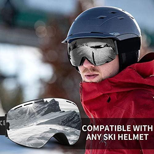 Lovne Ski Goggles, Winter Snowboard Goggles for Men Women & Youth, Kids, Boys & Girls, Snow Goggle Skiing Sport Goggles with Helmet Anti Fog Protection, Anti-Glare Lenses, OTG Design, Wind Resistant