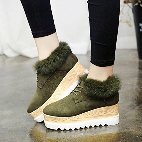 Zapatos Amortiguados con Algodón Grueso Mate Todo Partido , verde , EUR37