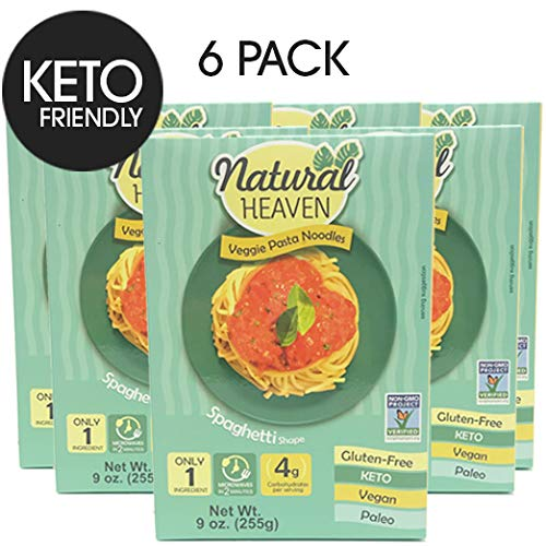 (Natural Heaven 6 Spaghetti Hearts of Palm Noodles - 6 Packs of 9 oz - Low Carb, Gluten Free, Keto Friendly, Vegan, Paleo, Non Gmo, High Fiber, Plant Based, 6 Count)