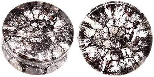 soscene Smoked Shattered Quartz Stone Ear Plugs Gauges Sold in Pairs (19mm-3/4 (Plugs 19mm Body Jewelry)