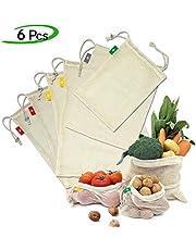Ezlife Bolsas Reutilizables Compra , Bolsas Reutilizables Fruta de Algodon Ecológicas Lavable y Transpirable Bolsa de Malla para Fruta Verduras Juguetes -6 Pcs (1*Bolsas de Tela,1*M, 2*L, 2*XL)