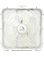 """AirFort 20"""" inch Box Fan - 3 Settings, Carry Handle, White Square Fan"""