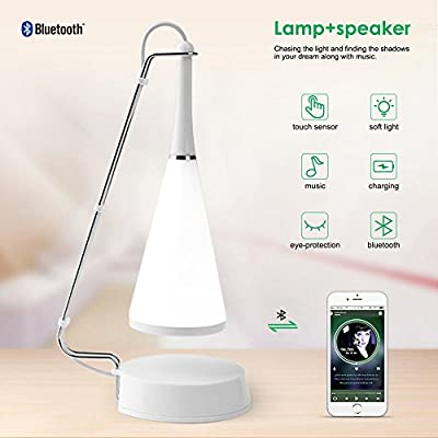 ELEPOWSTAR Night Lights, LED Touch Sensor Bedside Lamps, Bluetooth Speaker Wireless Table Lamp, Dimmable White Light Desk Light Support AUX for Bedroom, Bathroom, Babyroom, Dining and Reading