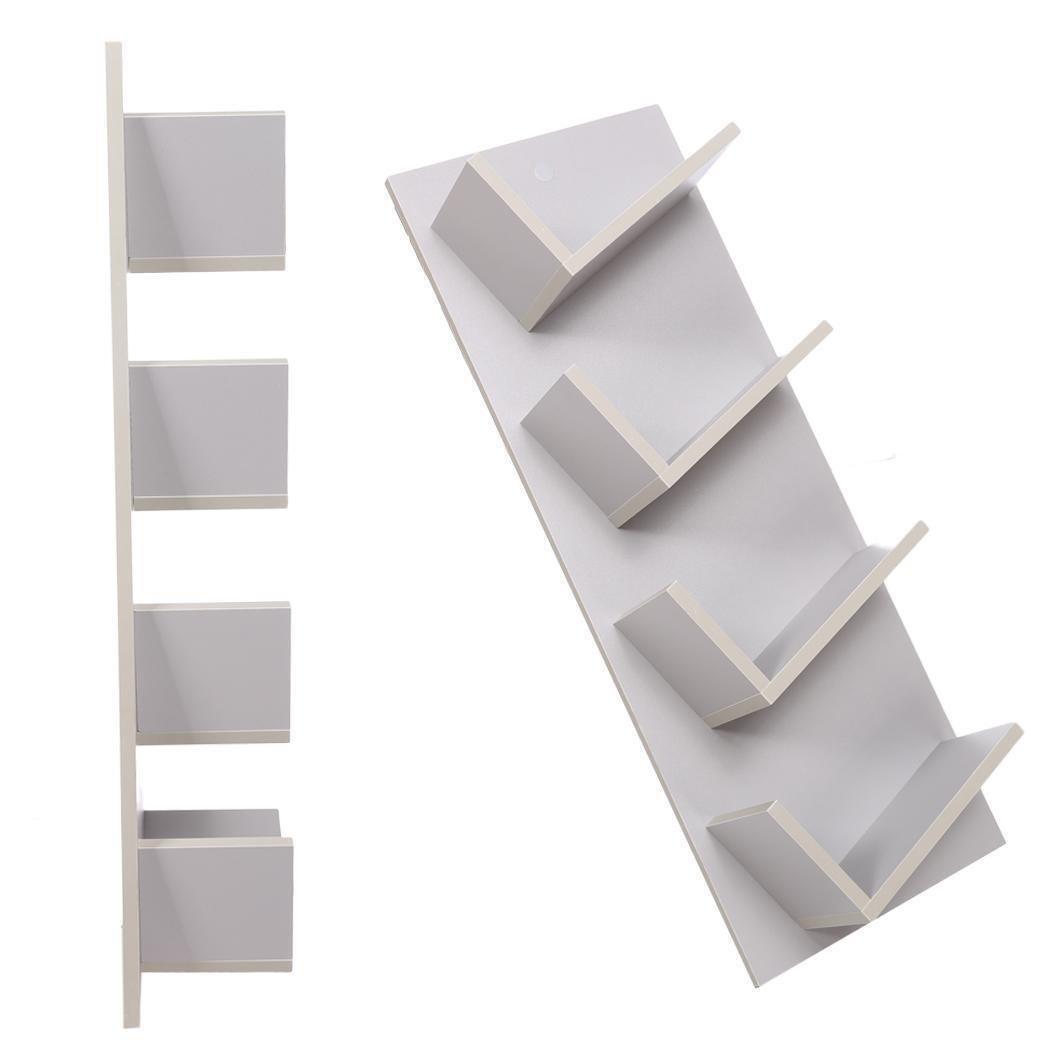 Bulges New Home CD DVD Rack Cabinets Tall Wood Bookcase Bookshelf Storage Shelf Shelves Gray by Bulges (Image #4)