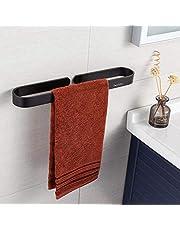 Handdoekenrek zonder boren, handdoekhouders voor badkamers, aluminium handdoekenrek met zelfklevende sticker, matte afwerking, 40 cm, zwart