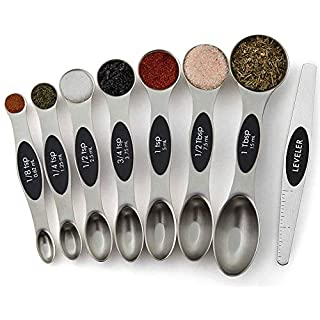 Emoly Magnetic Measuring Spoons Set, Stainless Steel, UpgradedTeaspoon Set, Fits in Spice Jars, Tablespoon Set for Measuring Dry and Liquid Ingredients, Set of 8 (Black)