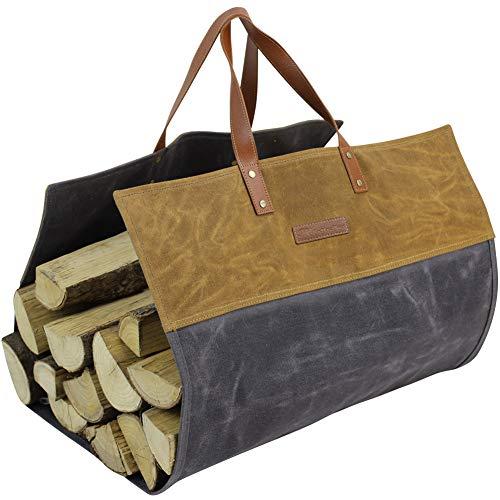 MyFirePlaceDirect Heavy Duty Waxed Canvas Firewood Log Carrier Contrast Color, Reinforce Handles Durable Firepalce Wood Bag