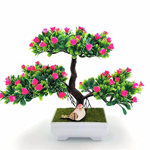 BROTEAM Bonsai Artificial Flowers decorative tree artificial rose for Home Decor (Pink)