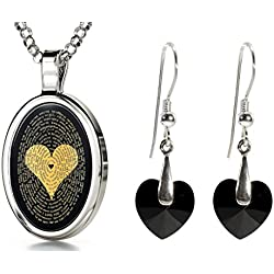 925 Silver I Love You Necklace 120 Languages Inscribed Onyx and Crystal Heart Earrings Jewelry Set, 18""