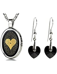 """I Love You Necklace 120 Languages 24k Gold Inscribed on Onyx and Crystal Heart Earrings Jewelry Set, 18"""""""