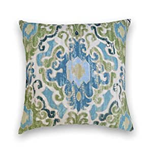blue green cotton ikat decorative throw pillow