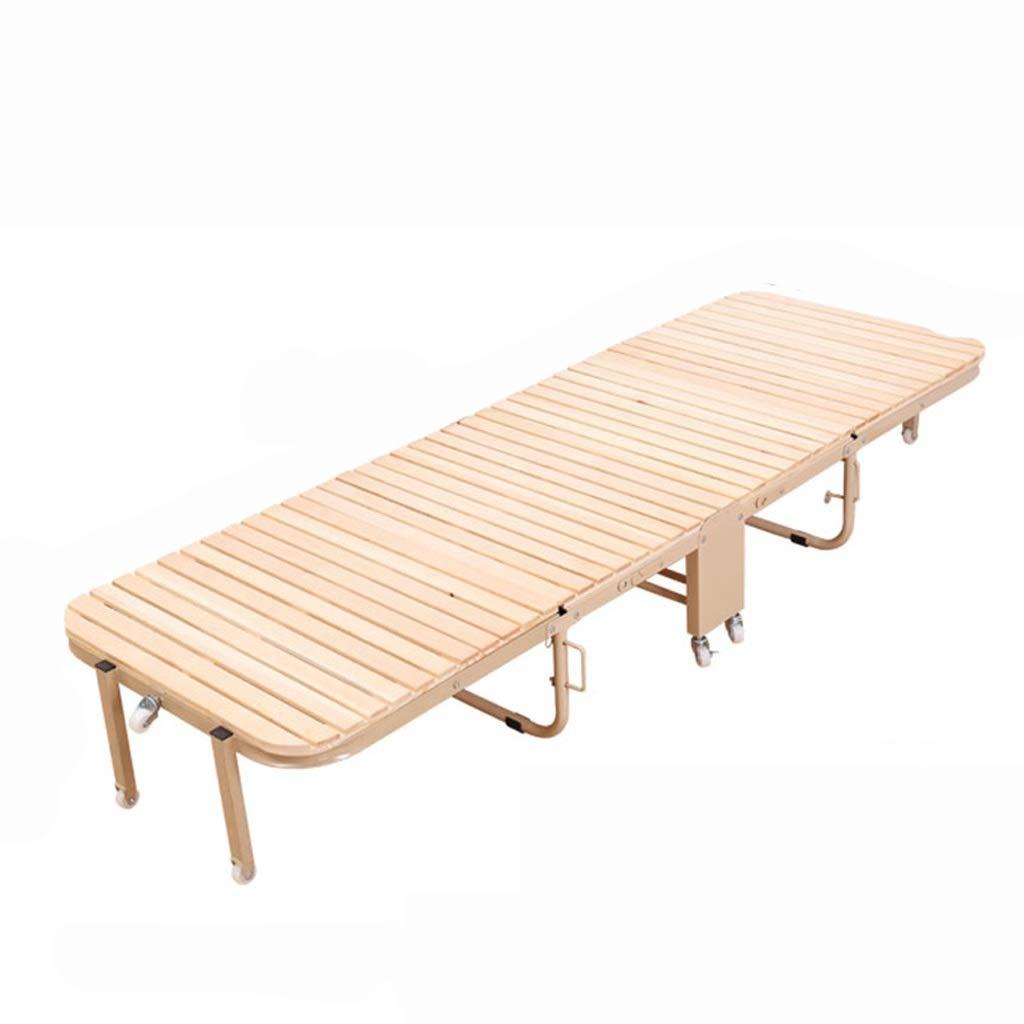 GuanBed Massivholzbett 4-Fach Klappbett mit Roller Einfaches Mehrzweckbett Lunchbett Begleitbett Büro Einzelbett (Color : Wood, Size : 105cm)