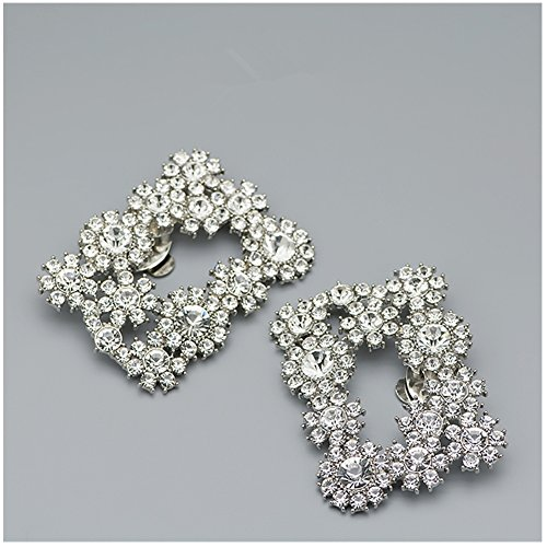 Casualfashion 2Pcs Decorative Shoes Dress Hat Accessories Fashion Square Rhinestones Crystal Flower Shoe Clips ()