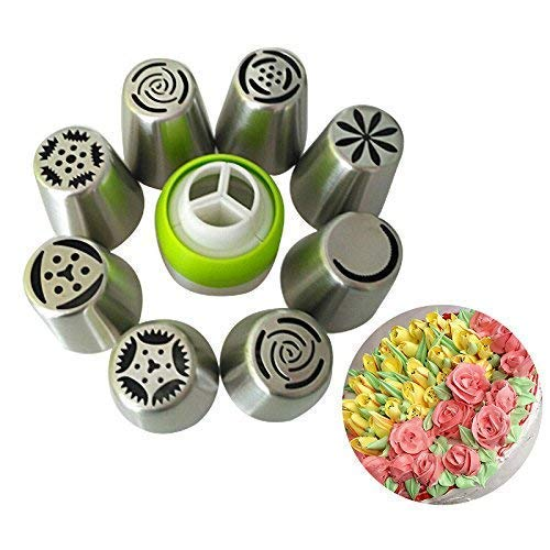 Russian Piping Tips 13PCS Cake Decorating Kit for Cupcake Cookie 8 Russian Icing Nozzles 1 Coupler Big Frosting Nozzles Set Butter Cream Baking Supplies