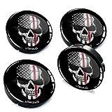 60mm rim - Skino 4 x 60mm 3D Gel rims wheel centre hub caps auto car Skull USA flag 118
