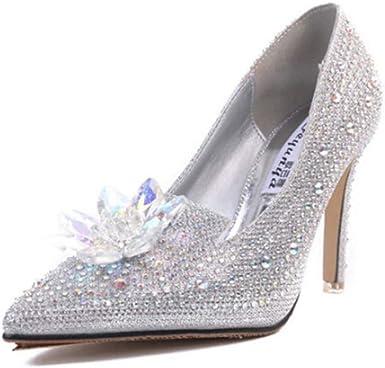 Desirepath Womens Pointed Toe High Heel Rhinestone Slip On Stiletto Pumps Bride Wedding Party Shoes