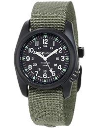 Bertucci A-2T Vintage Black Titanium Watch with Olive Drab Nylon Strap 12028