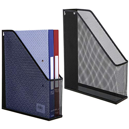 Set of 2 Metal Mesh Magazine Holder, Desktop File Storage Organizer Rack, Black