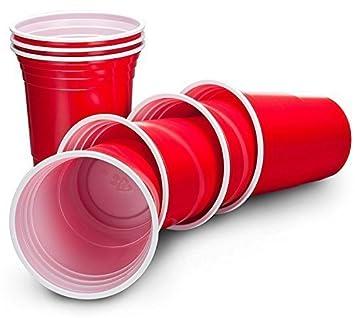 livivo® Pack de 50 grandes estilo americano rojo de fiesta de plástico bebidas vasos –