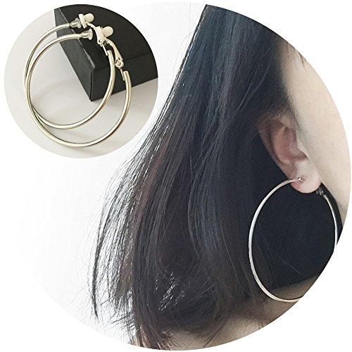 Clip On Earrings (Aifeer 1 Pair Big Circle Clip On Earring Stainless Round Simple Hoop Ear Cuffs No Piercing (Diameter of 7 cm))