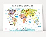 Children's World Map Poster, Nursery Decor, Oh, The Places You Will Go Decorations, Maps for Kids, Gifts for Toddlers, Baby Shower Gift for Girls (54''W x 36''H, Pink)