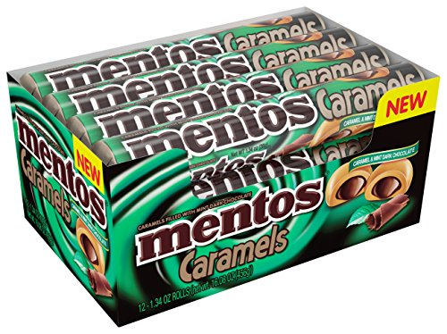 Mentos Candy Roll, Caramel and Mint Dark Chocolate, Party, Halloween, 1.34 Ounce/9 Pieces (Pack of 12) -