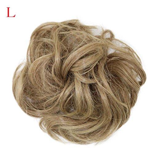Fullfun Frauen kurze lockige chaotisch Perücken Haarverlängerungen braun schwarz L