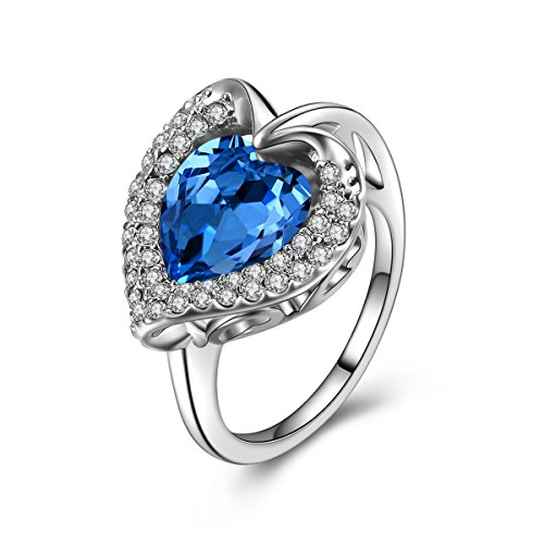Forcolor White Gold Plated Sapphire and heart SWAROVSKI ELEMENTS Crystal Ring for girls