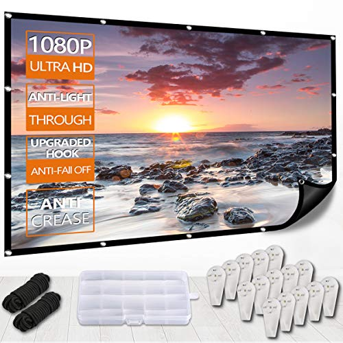 Outdoor Projector Screen with Black Background,Etercycle 4K HD 16:9 Portable Foldable Movie Screen for Home Indoor Backyard Theater Better Projection,Anti-Crease,Easy to Clean,1.1Gain,Upgrade Hook