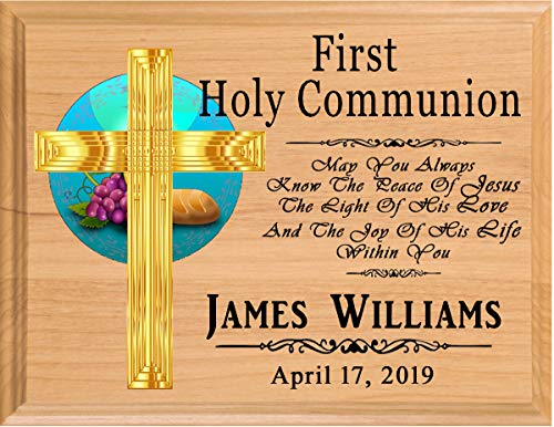 Broad Bay First Communion Gift Personalized 1st Communion Plaque for Boys for Girls Made in -