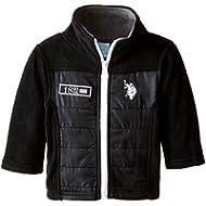 US Polo Association Baby-Boys Infant Mock Neck Polar Fleece Jacket with Pongee Shell Trim,...