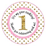 Pink and Gold 1st Birthday Stickers, Labels, Party Favors (2 INCH ROUND, 60 count)