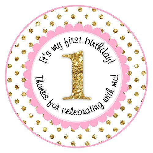 Pink and Gold 1st Birthday Stickers, Labels, Party Favors (2 INCH ROUND, 60 count) by Delight Design