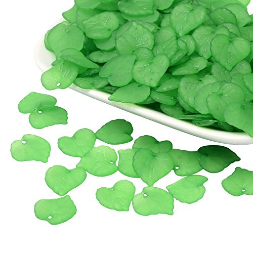 PandaHall 1650Pcs Transparent Frosted Style Maple Leaf Acrylic Charms Pendants Size 16x15x2mm Green