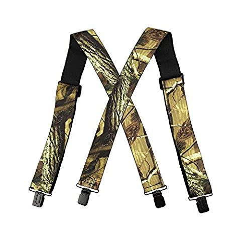 Suspenders for Men Elastic X-Back Adjustable Heavy Duty Realtree Camouflage Clip Ends for Halloween Costumes