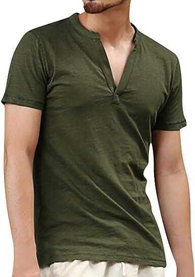 Camisa De Manga Corta Camiseta De Color Liso para Hombres ...