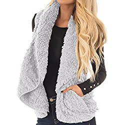 Sleeveless Cardigan Lapel Drape Thick Vest with Pockets