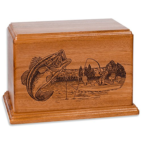 Bass Boat Fishing Memorial Cremation Urn Made in the USA from Premium Solid Wood & Laser Carved with Bass Fisherman (Standard Adult (200 cubic inches), Mahogany)