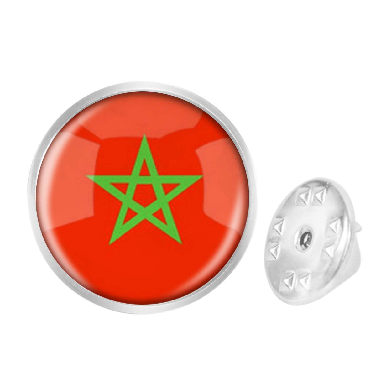 WAZZIT Round Metal Tie Tack Hat Lapel Pin Brooches The Kingdom of Morocco National Flag Banquet Badge Enamel Pins Trendy Accessory Jacket T-Shirt