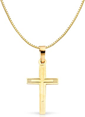 14K Yellow Gold Religious Cross Charm Pendant with 0.8mm Box Chain Necklace