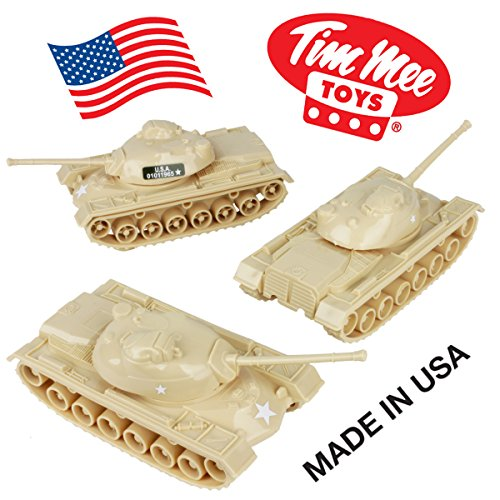 TimMee Toy TANKS for Plastic Army Men: Tan WW2 3pc - Made in USA (Army Real Tank)