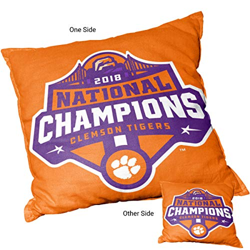 - College Flags and Banners Co. Clemson Tigers 2018 National Champions Logo Pillow