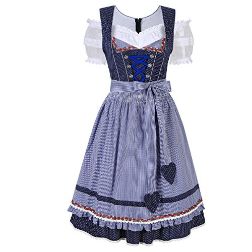 KoJooin Women's German Dirndl Dress 3 Pieces Oktoberfest Costumes Blue Dot (40's Dresses Costumes)