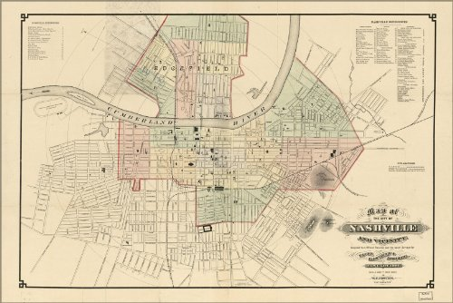 Poster Map Of The City Of Nashville And Vicinity 1877 Antique Reprint